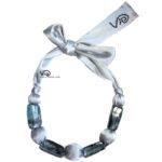 collana stoffa tubolare violetab argento siriano