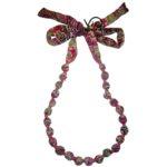 collana stoffa tubolare violetab palloccoli fioriti