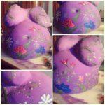 calco gesso pancione decorato in lilla